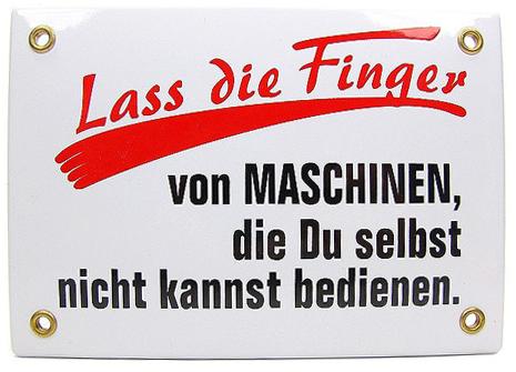 "Emailleschild ""Lass die Finger..."""