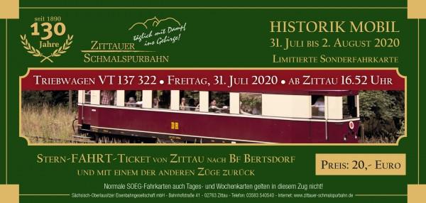 Stern-Fahrt-Ticket VT 137 322 und Beiwagen ab Zittau